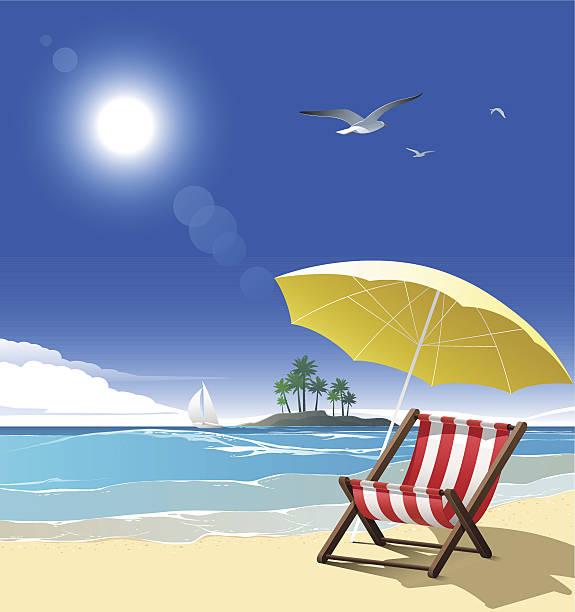 illustrations, cliparts, dessins animés et icônes de la plage - transat