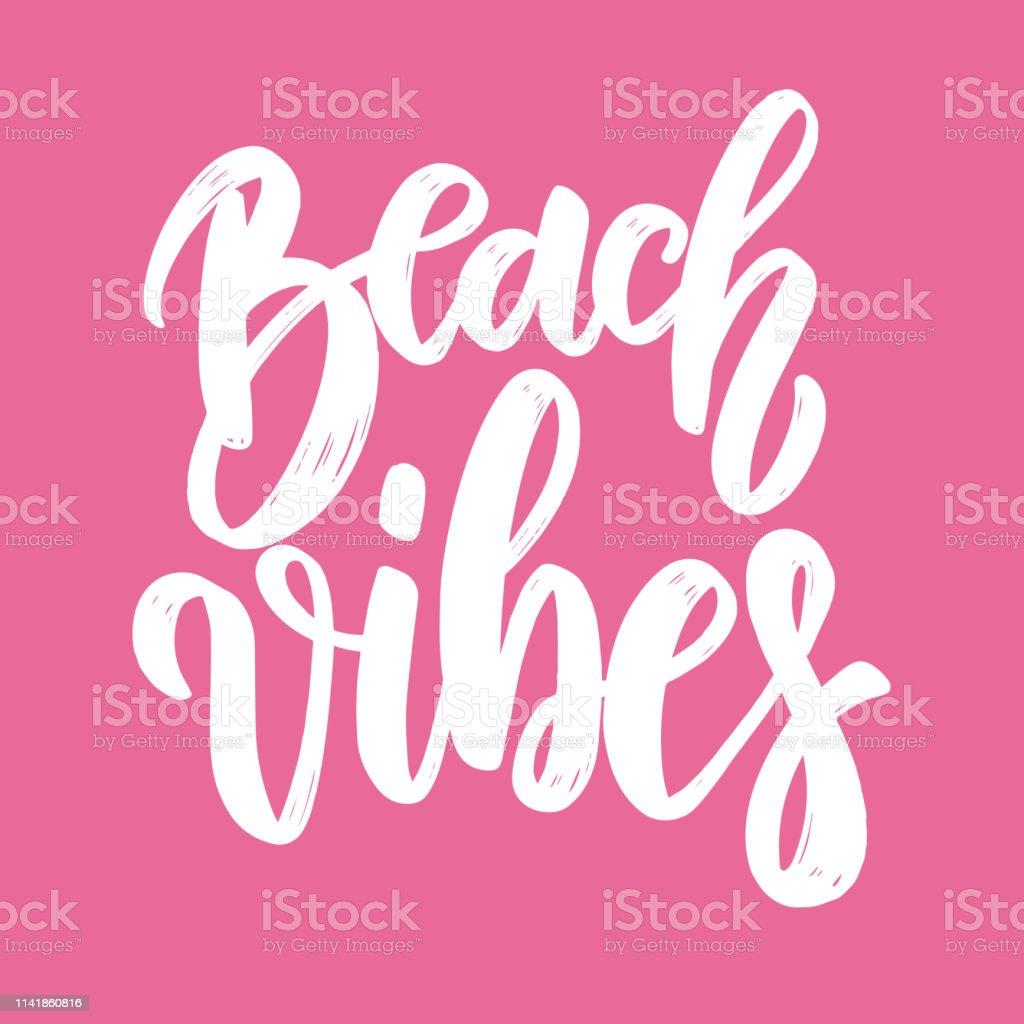 Vetores De Vibrações De Praia Lettering Frase Para Cartão