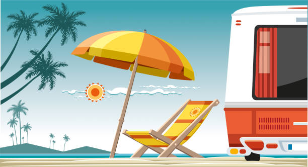 Beach view Worked by adobe illustrator... included illustrator 10.eps and 300 dpi jpeg files... easy editable vector... rv interior stock illustrations