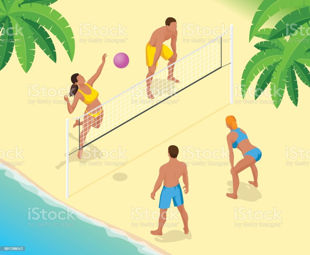 Beach volley ball player jumps on the net and tries to blocks the...