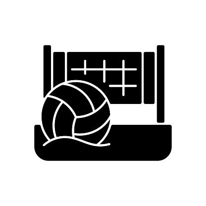 Beach volleyball black glyph icon