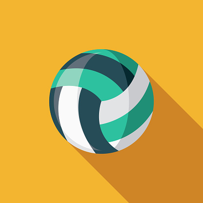 Beach Volleyball Flat Design Summer Icon with Side Shadow