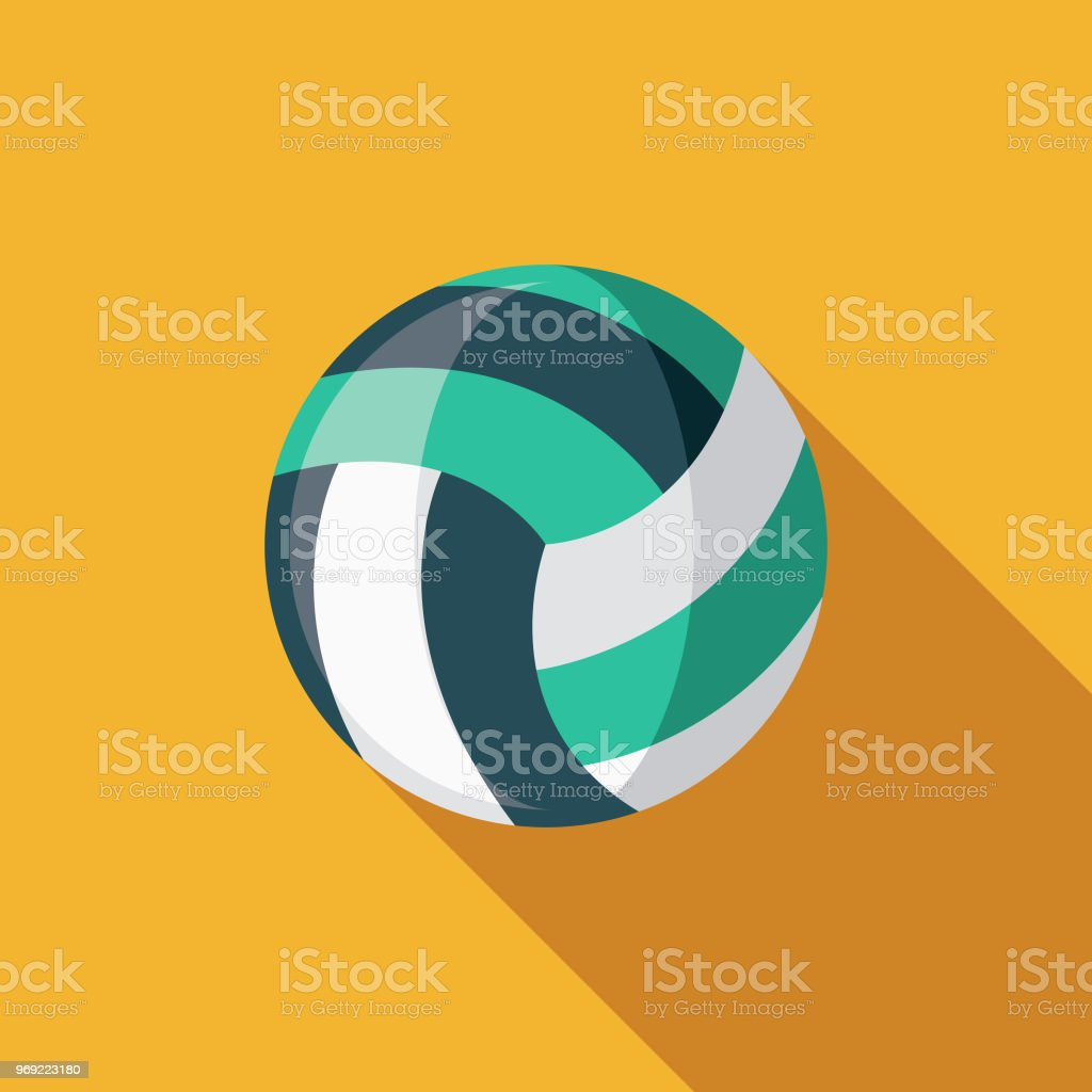 Beach Volleyball Flat Design Summer Icon with Side Shadow vector art illustration