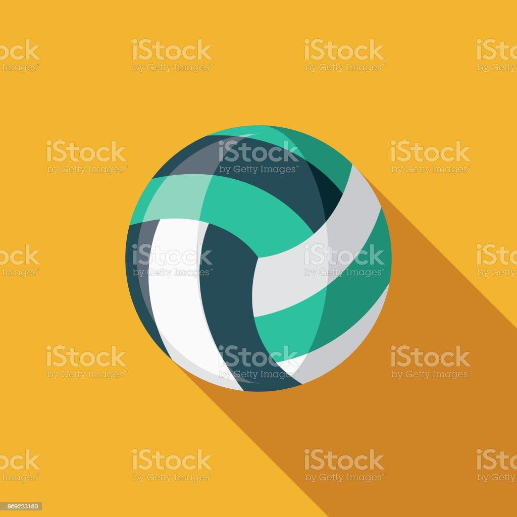 Beachvolleyball flache Designikone Sommer mit Seite Schatten – Vektorgrafik