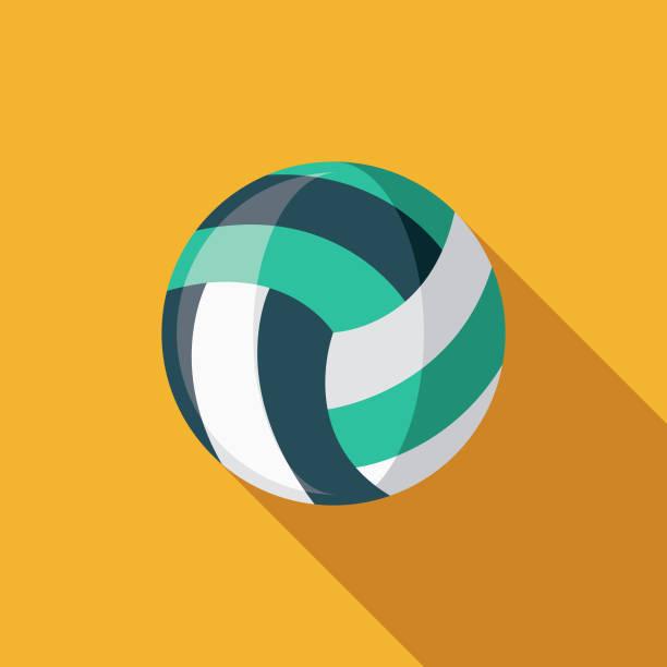 ilustrações, clipart, desenhos animados e ícones de beach volleyball design plano verão ícone com sombra do lado - voleibol