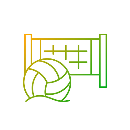 Beach volleyball gradient linear vector icon