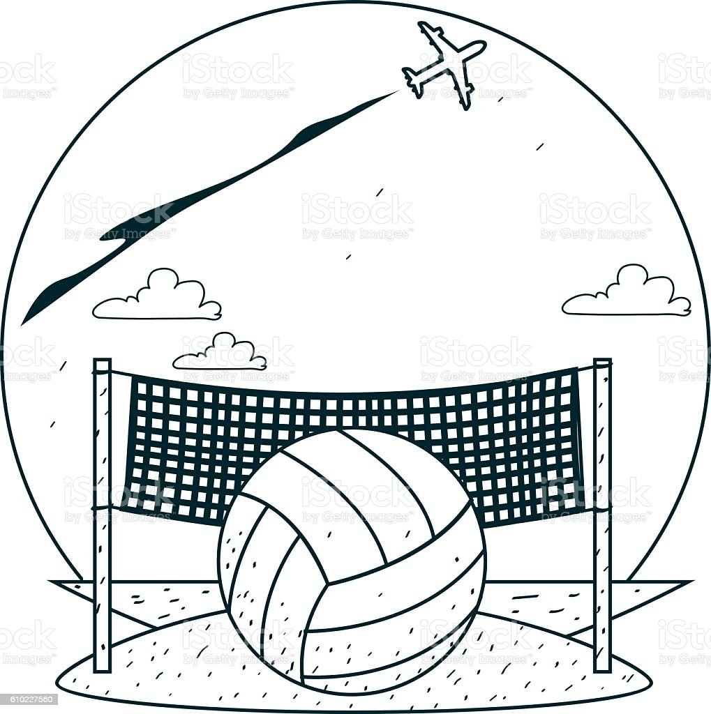 beach volleyball outline drawings for coloring stock vector art