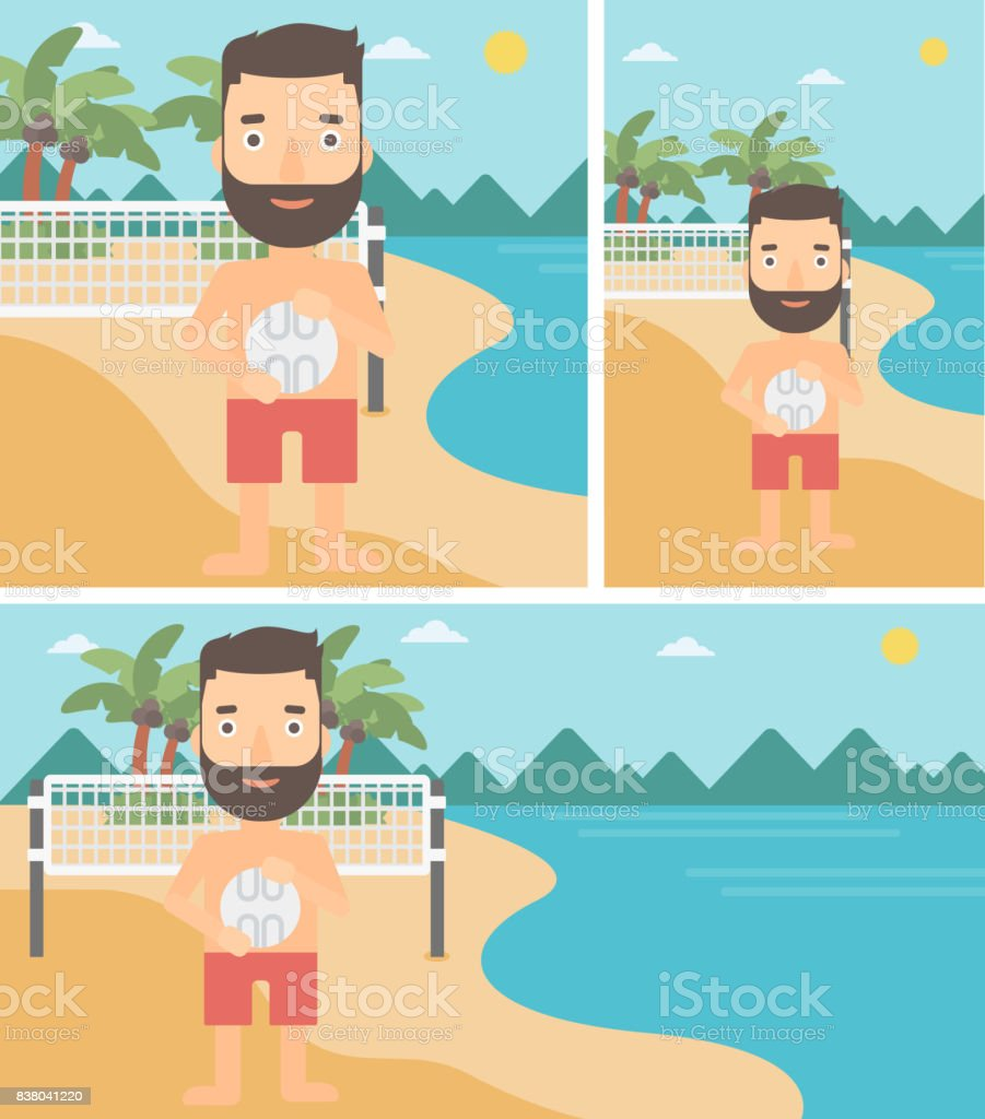 Beach volleyball player vector illustration vector art illustration