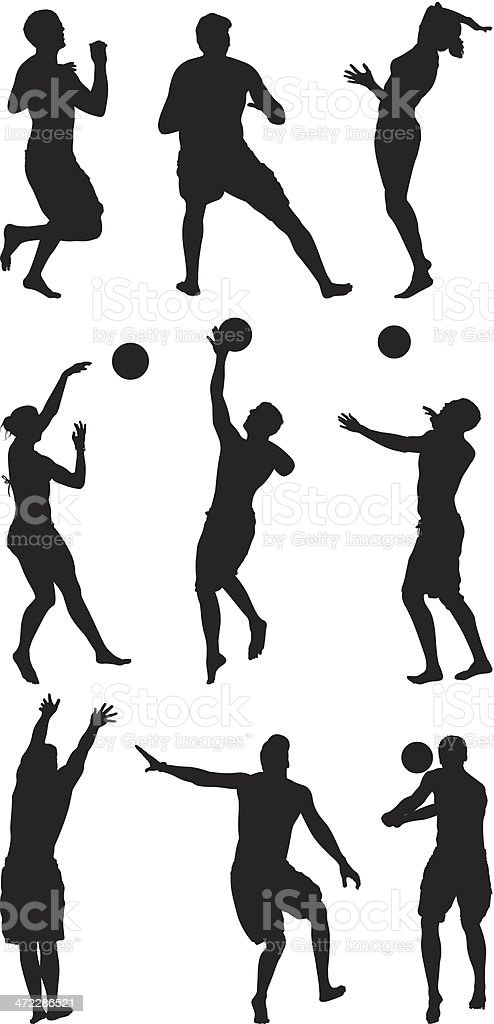 Beach volleyball players in action royalty-free stock vector art