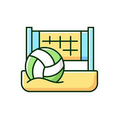 Beach volleyball RGB color icon