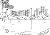 Beach volleyball sport graphic black white city landscape sketch illustration vector