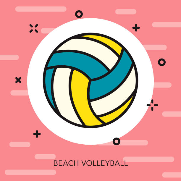 beach volleyball thin line summer icon - thin line fonts stock illustrations