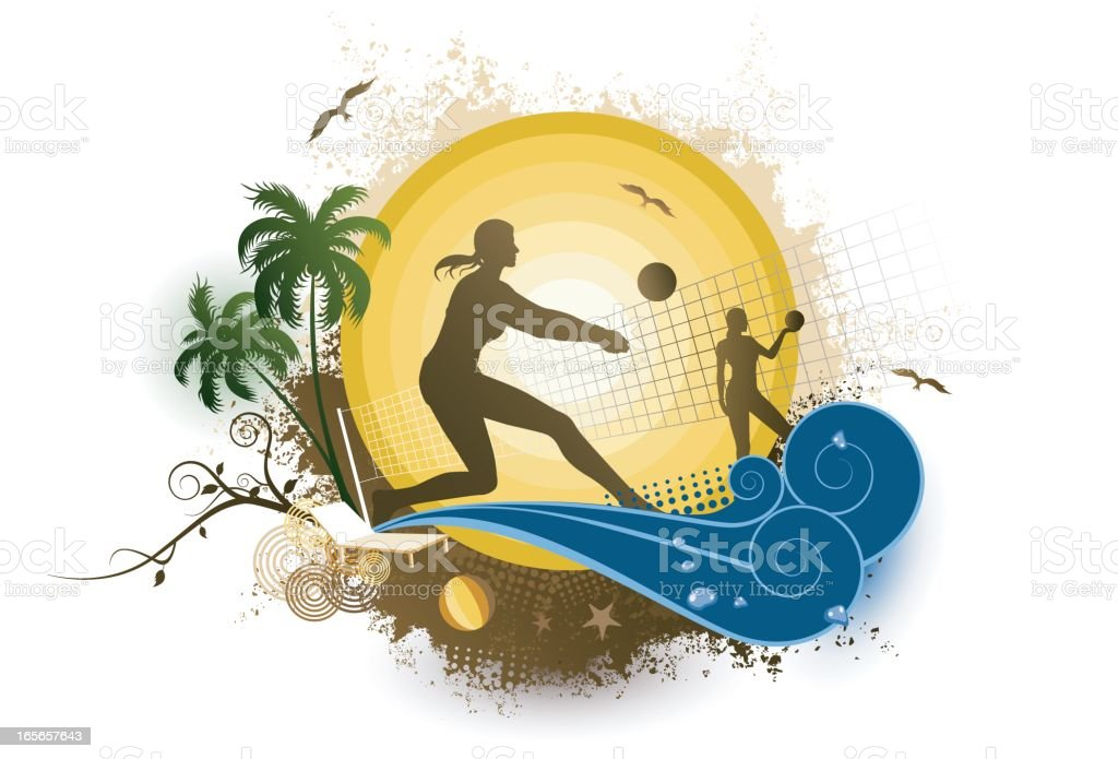 Beach Volleyball royalty-free stock vector art