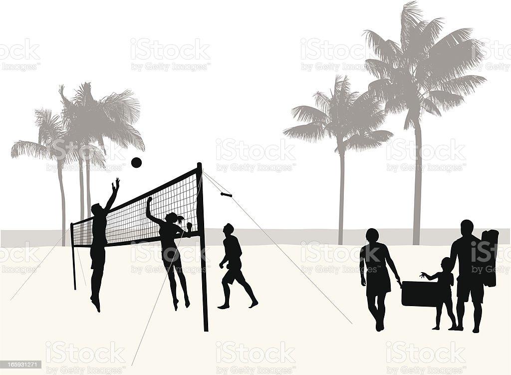 Beach Volleyball Vector Silhouette vector art illustration
