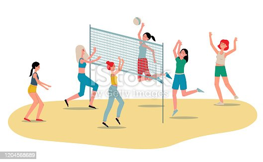 istock Beach volleyball womens team players flat vector illustration isolated on white. 1204568689
