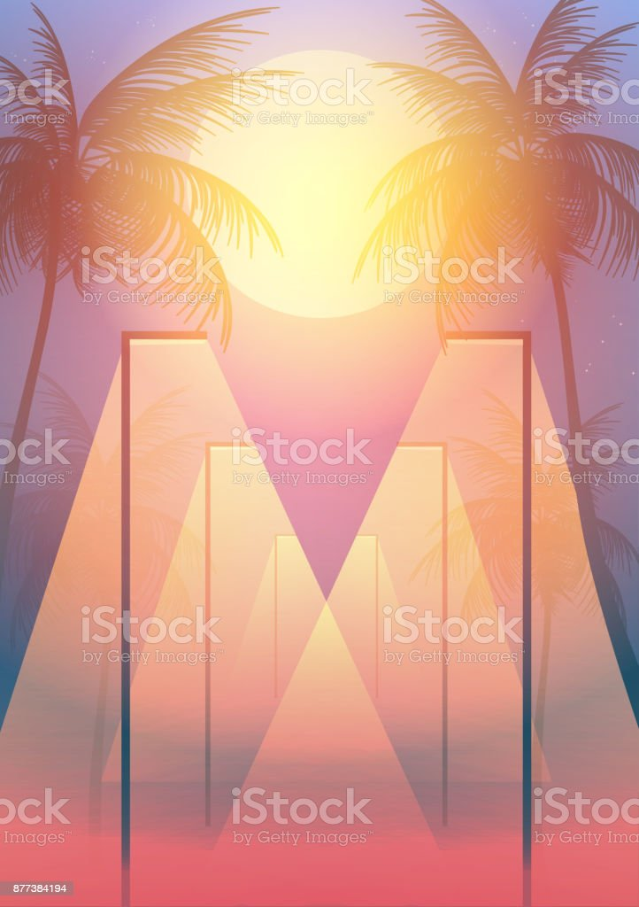 Beach Walkway at Night with Moonlight and Palm Trees  - Vector Illustration vector art illustration