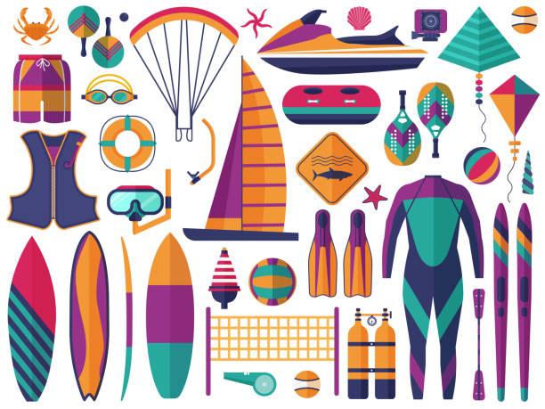 stockillustraties, clipart, cartoons en iconen met strand watersport iconen set - gopro