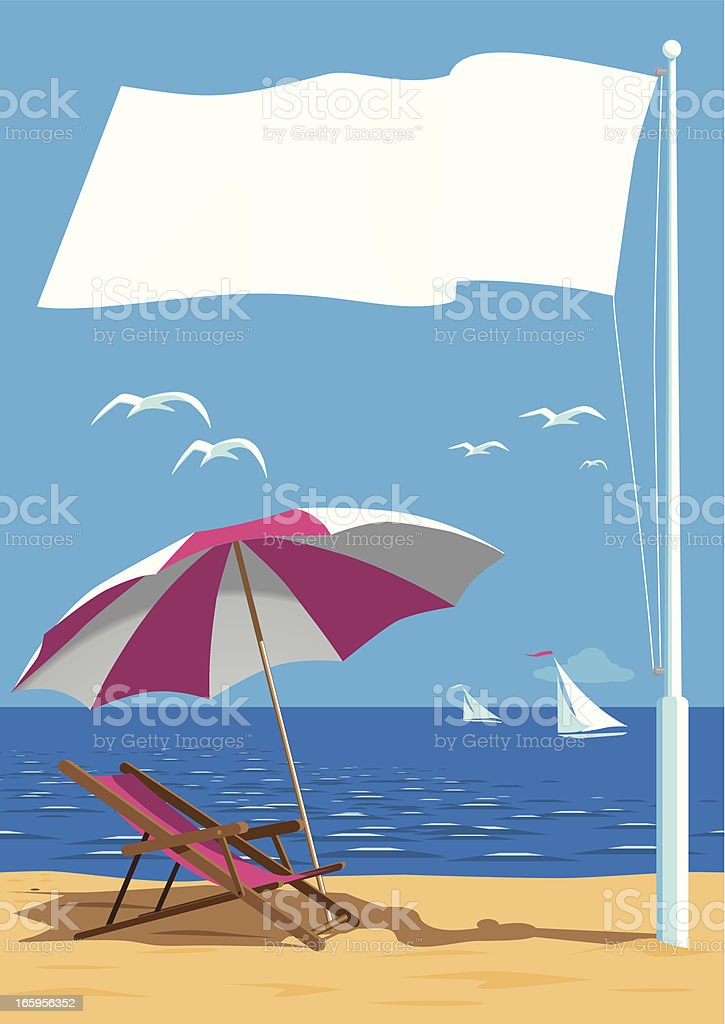 Beach with Flag Pole royalty-free stock vector art