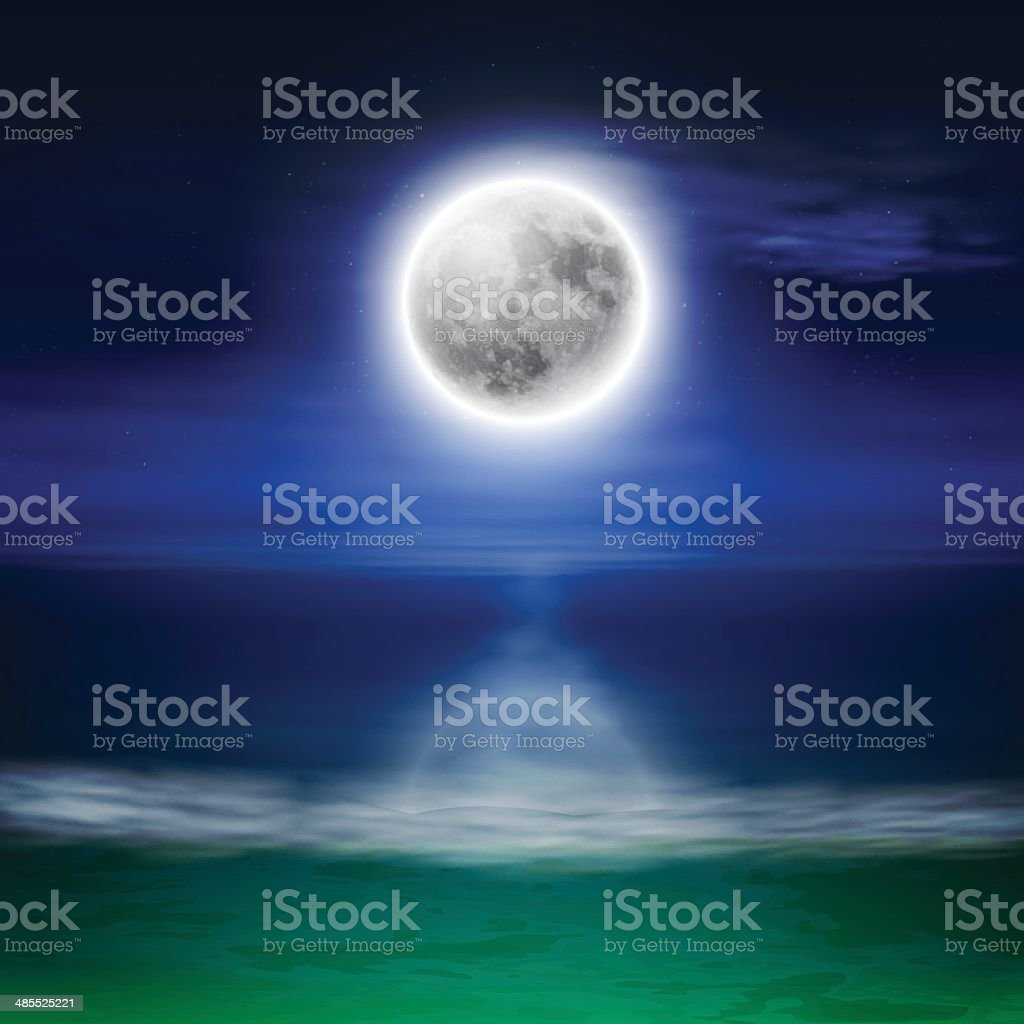 Beach with full moon at night vector art illustration