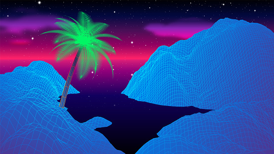 Beach with mountains at night with synthwave or retrowave old 80s computer game style and palm tree