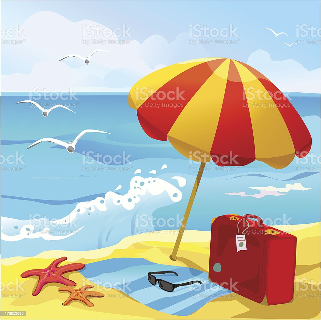 beach with sun umbrella and suitcase royalty-free stock vector art