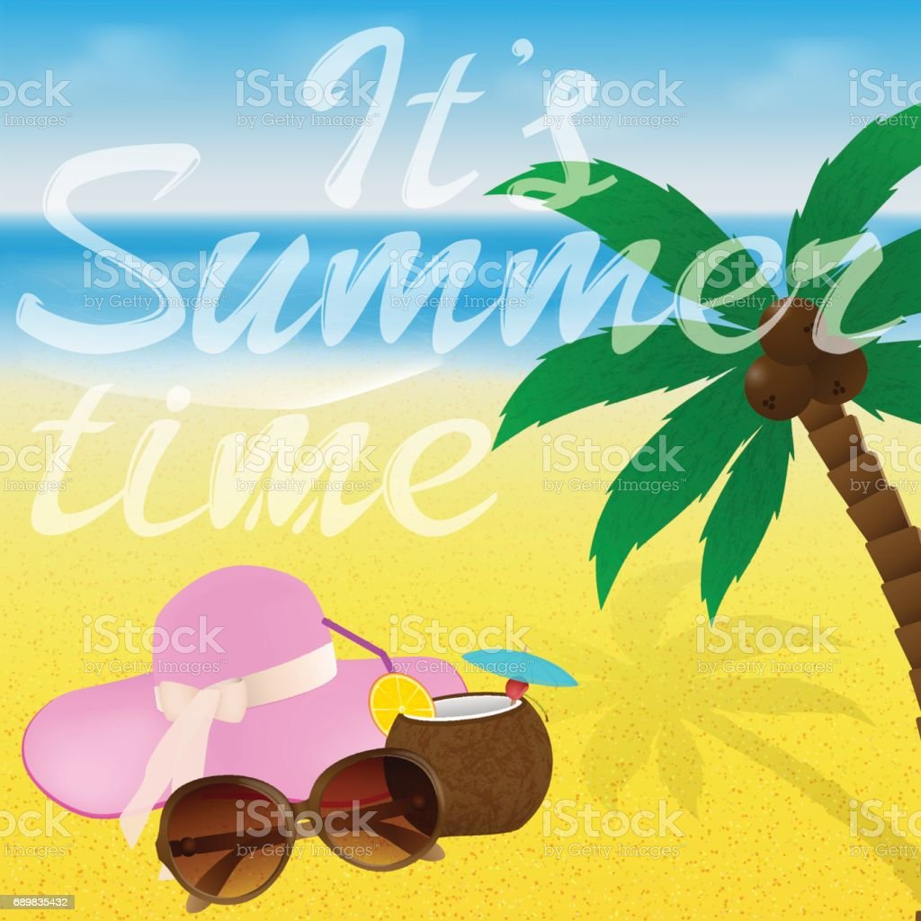6bf7f56203ae Beach With Sunglasses Cocktail Starfish And Hat Summer Greeting Card ...
