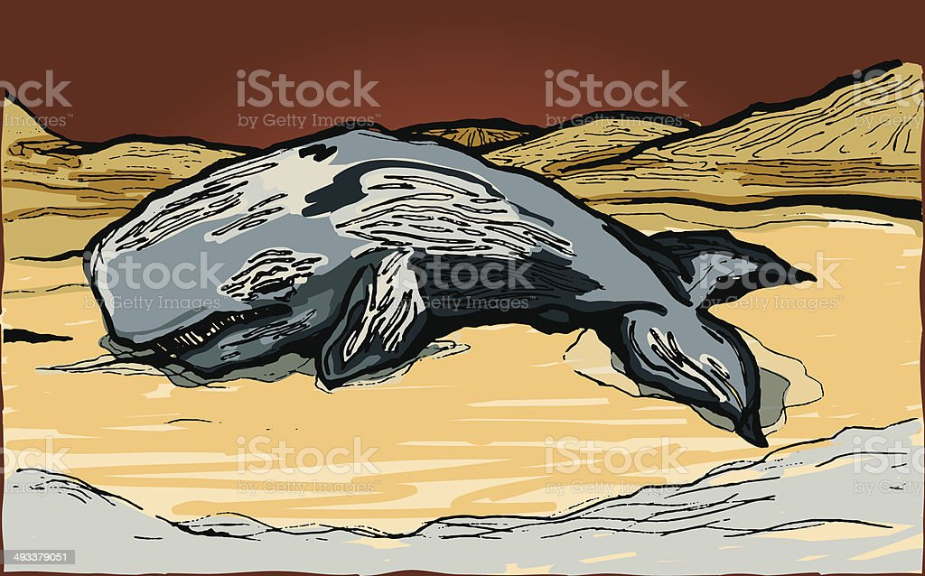 Beached Sperm Whale vector art illustration