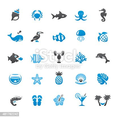 Beaches and Sea Life related vector icons collection. Three-color palette /Isolated on white/ Quartico set #48 / transparent png-24 version 5000×5000 px included /