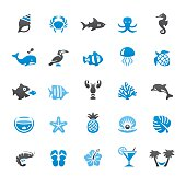 Beaches and Sea Life related vector icons