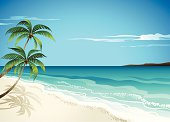 A vector Illustration of beach scene and palm trees-great beach background. All elements are individual objects arranged on clearly labeled layers, used only gradient, global colors used. Hi res jpeg included. Click on view portfolio to see more of my illustrations.
