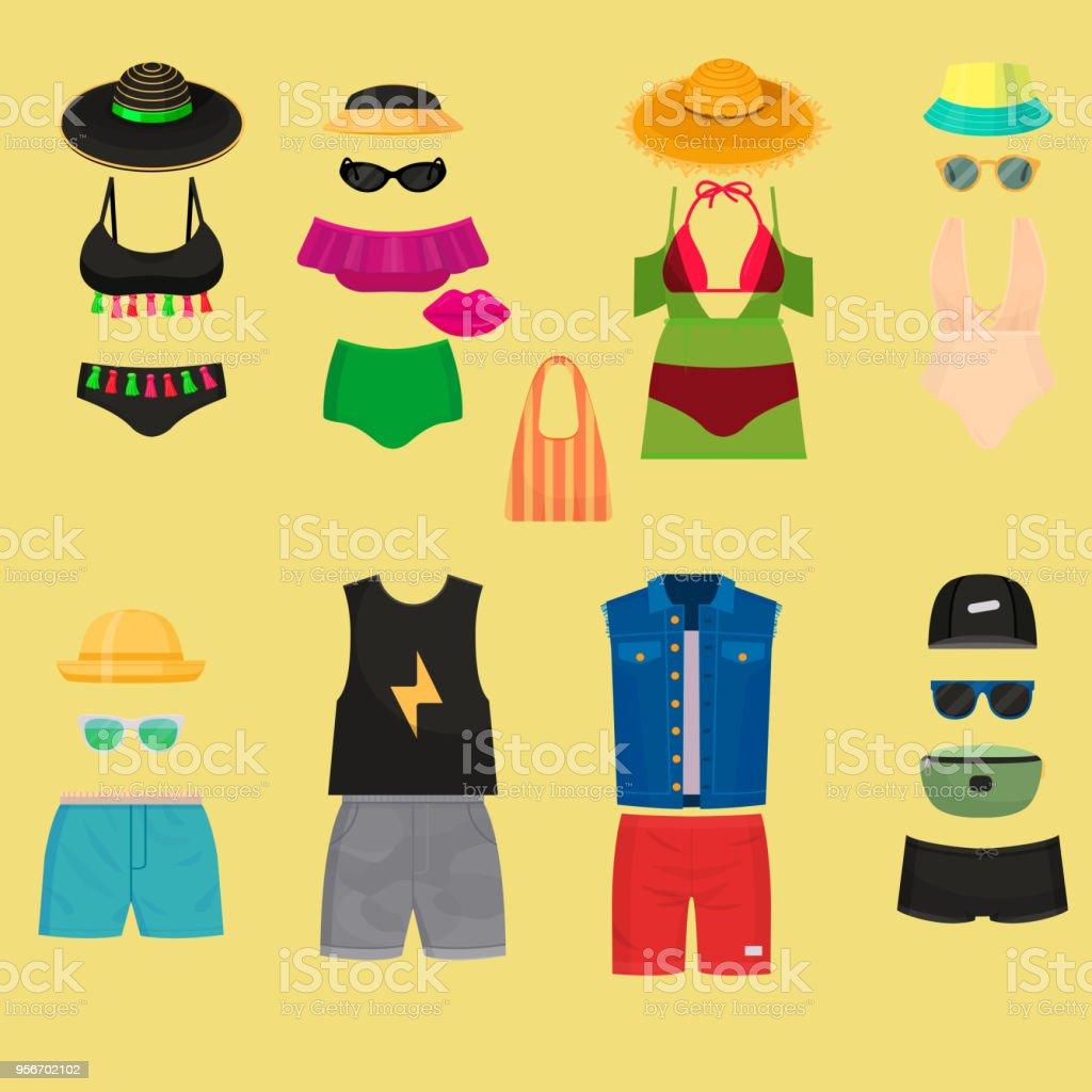Beachwear bikini cloth fashion looks vacation lifestyle women collection sea light beauty clothes vector illustraton vector art illustration