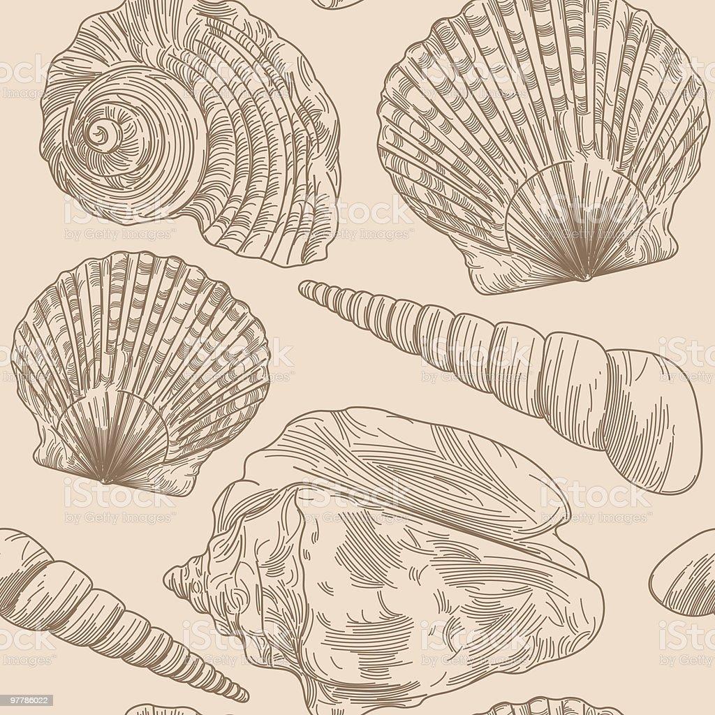 Beachy Seashell Pattern vector art illustration
