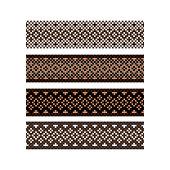 Beaded border design pattern brown color stripes