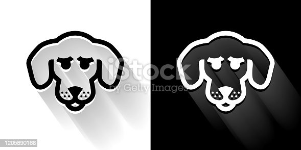 istock Beagle Black and White Icon with Long Shadow 1205890166