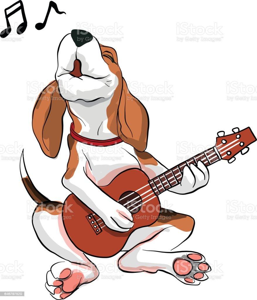 acción de perro Beagle - ilustración de arte vectorial