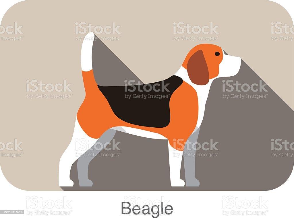 Perro Beagle breed icono de diseño plano - ilustración de arte vectorial