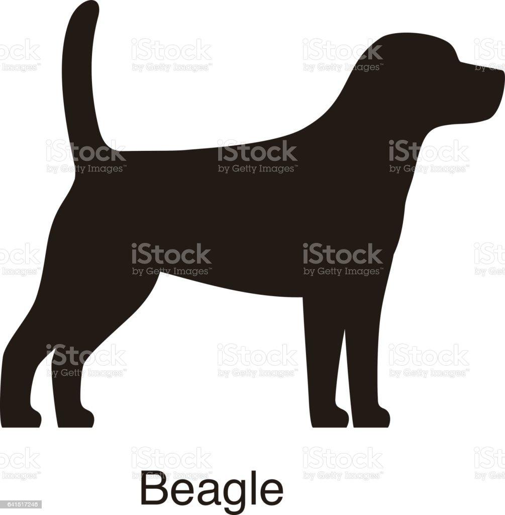 silueta de perro Beagle, vista lateral, vector - ilustración de arte vectorial