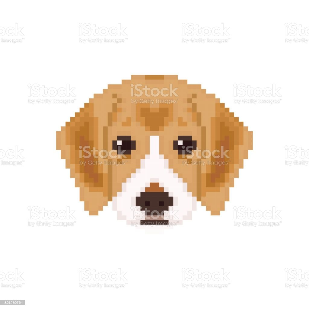 Beagle Puppy Head In Pixel Art Style Dog Vector Illustration