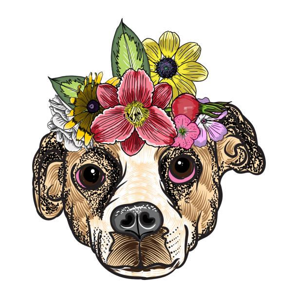 beagle welpen in die exotische blume rosen kranz krone. tätowierung oder t - shirt kleid plakat boho chic hund porträt konzept. mode-illustration. hand gezeichnet haushund vektor. - zigeunerleben stock-grafiken, -clipart, -cartoons und -symbole