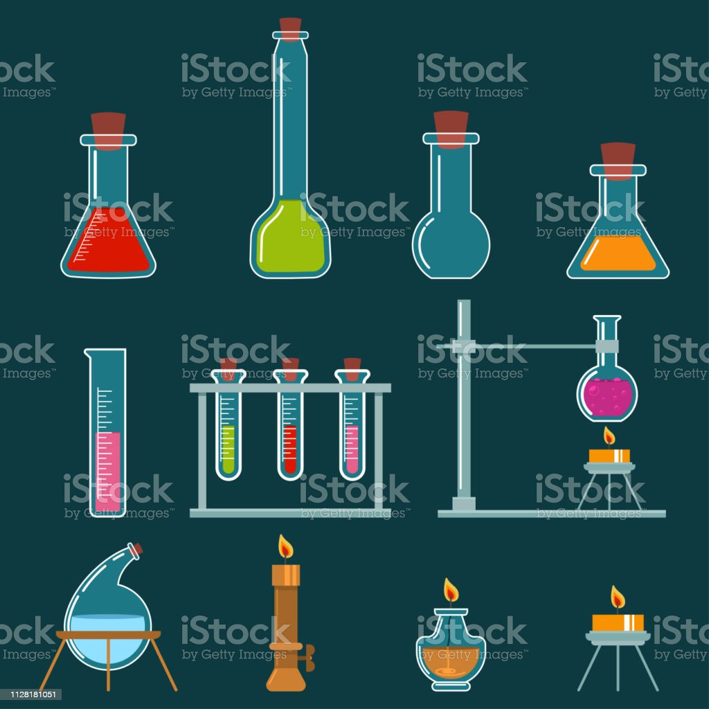 Beaker And Burner Types Set Laboratory Glassware For