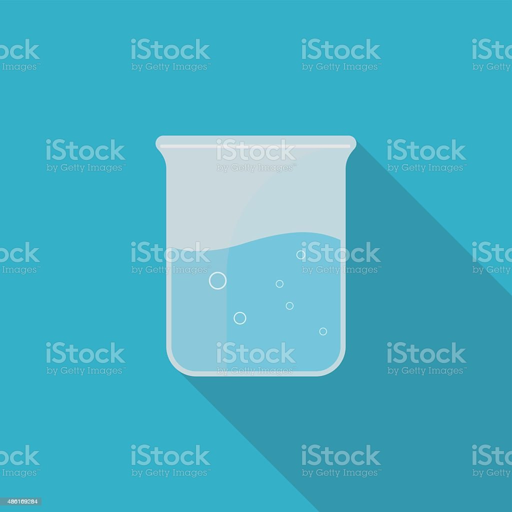 Beaker (Glass) with long shadow vector art illustration