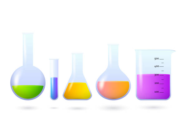 Beakers and flasks with chemical set Beakers and flasks with chemical set. Experiment, laboratory, medical test. Chemistry concept. Vector illustration can be used for topics like science, education, medicine beaker stock illustrations