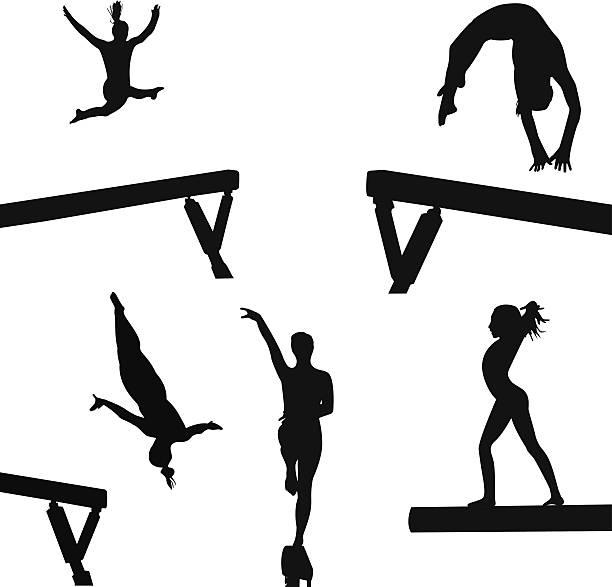 ビームの女の子 - 体操競技点のイラスト素材/クリップアート素材/マンガ素材/アイコン素材