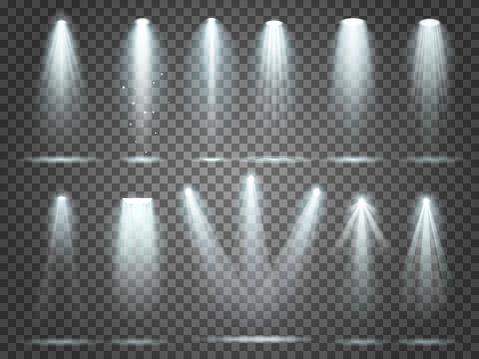 Beam of floodlight, illuminators lights, stage illumination spotlight. Night club party floodlights and spotlights lighting vector set