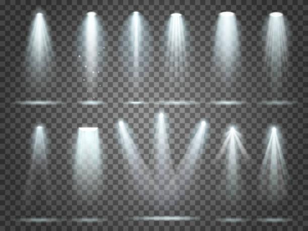 Beam of floodlight, illuminators lights, stage illumination spotlight. Night club party floodlights and spotlights lighting vector set Beam of floodlight, space illuminators lights effects, stage illumination spotlight. Night club party floodlights on scene and white spotlights lighting interior vector realistic 3d set spot lit stock illustrations