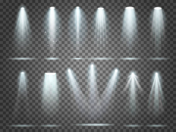 beam of floodlight, illuminators lights, stage illumination spotlight. night club party floodlights and spotlights lighting vector set - reflektor światło elektryczne stock illustrations