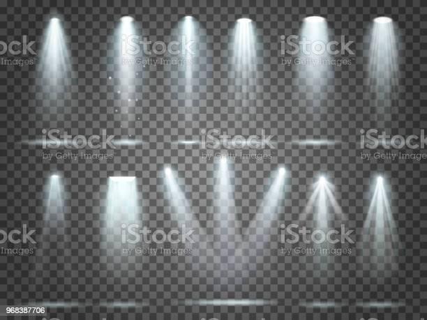 Beam Of Floodlight Illuminators Lights Stage Illumination Spotlight Night Club Party Floodlights And Spotlights Lighting Vector Set - Arte vetorial de stock e mais imagens de Abstrato