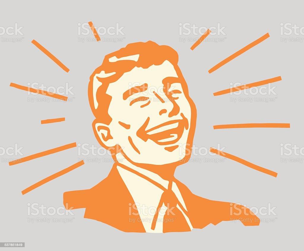Beaming Smiling Man vector art illustration