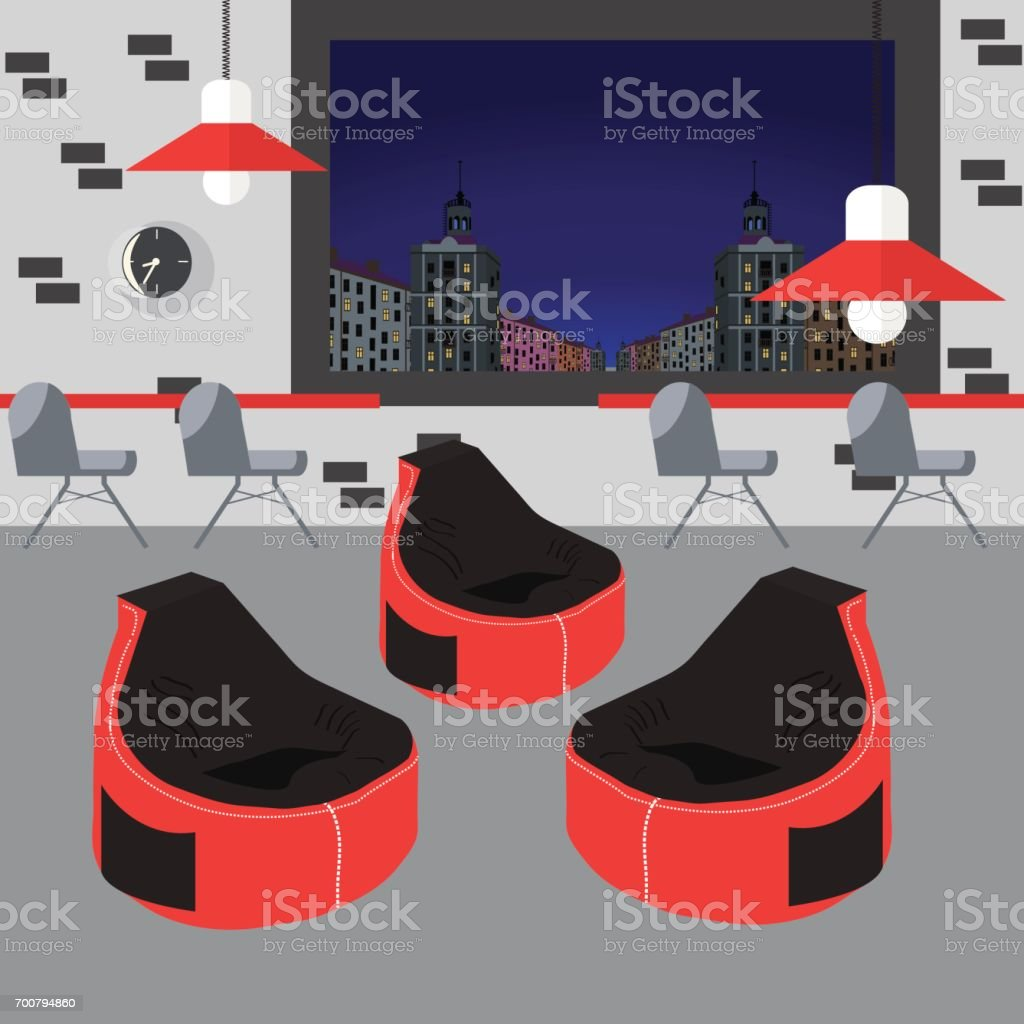 Bean bag chair with city view from window. Good idea for office workplace interior, co working freelance center. vector art illustration