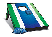 A realistic illustration of a bean bag toss outdoor game, sometimes referred to as cornhole